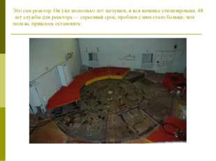 Это сам реактор. Он уже несколько лет заглушен, и вся начинка утилизирована.