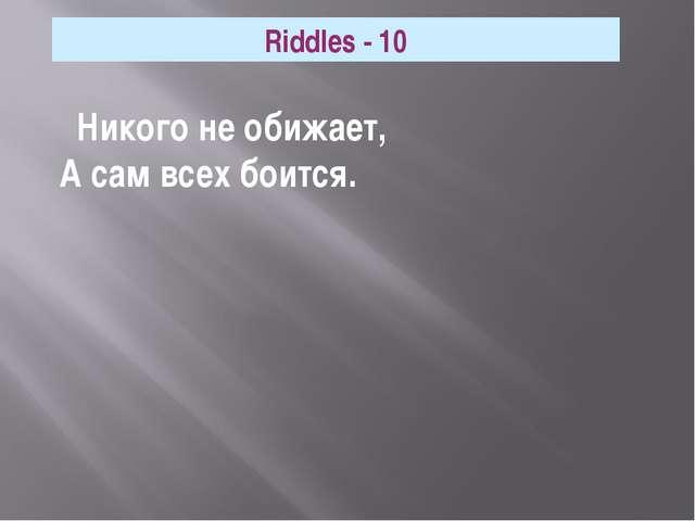 Никого не обижает, А сам всех боится. Riddles - 10