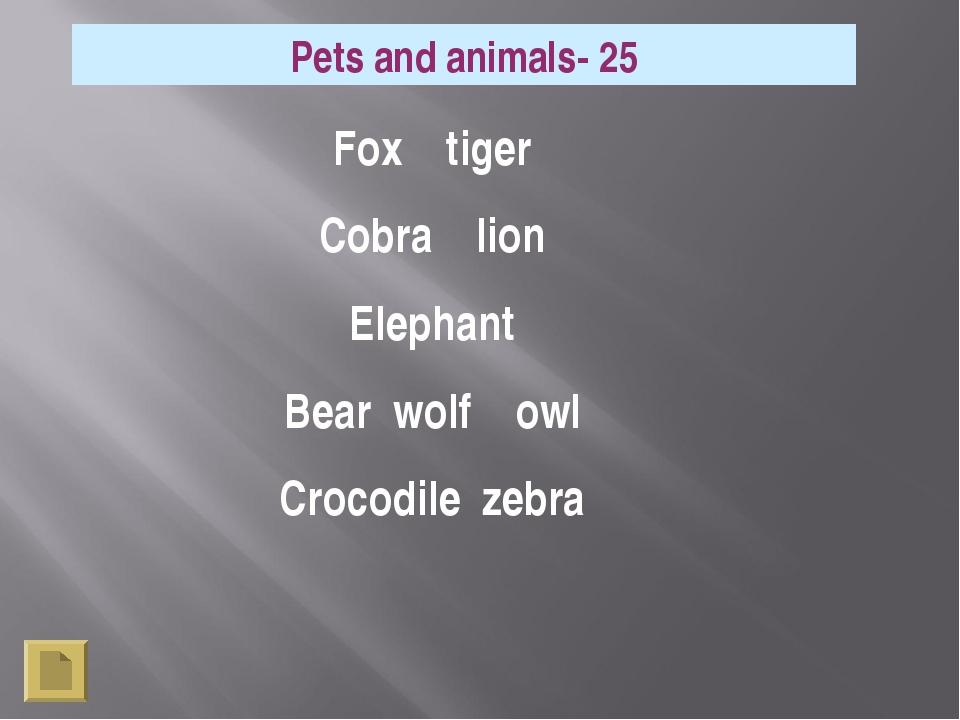 Pets and animals- 25 Fox tiger Cobra lion Elephant Bear wolf owl Crocodile ze...
