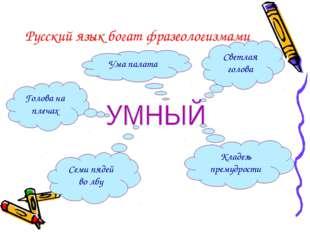 Русский язык богат фразеологизмами Светлая голова Кладезь премудрости Семи пя