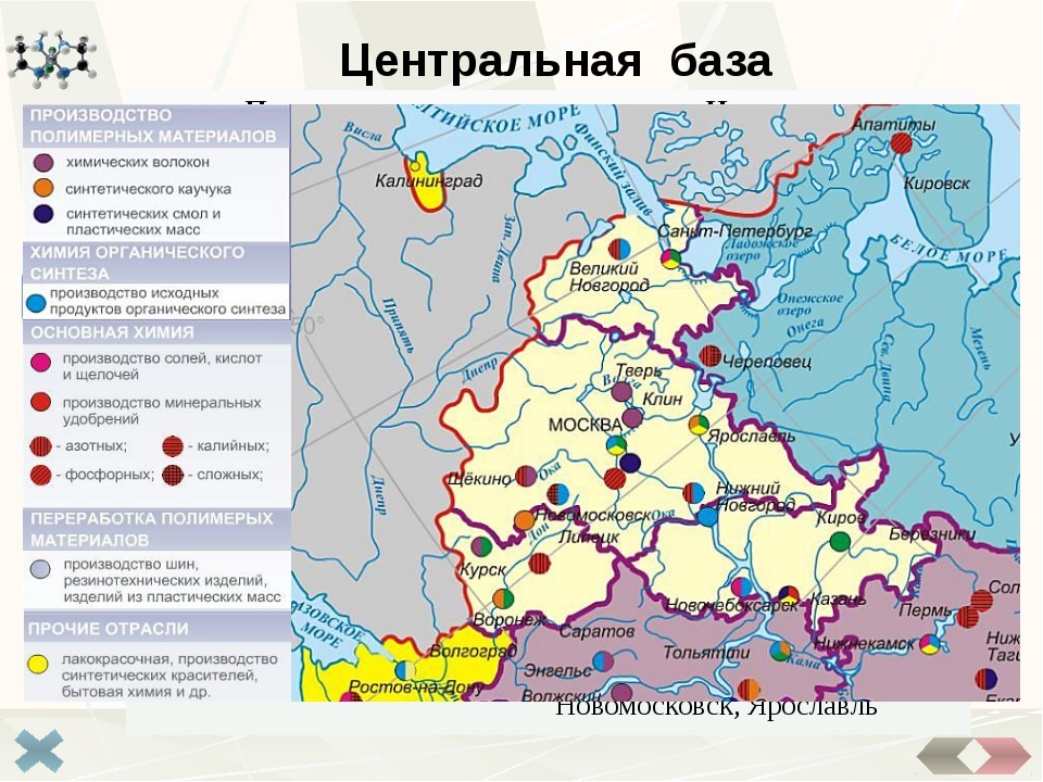 Северо- Европейская база Самая слаборазвитая (всего 2% продукции отрасли) вв...