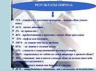 РЕЗУЛЬТАТЫ ОПРОСА: 71% - учащихся с неохотно приносят сменную обувь (много кн
