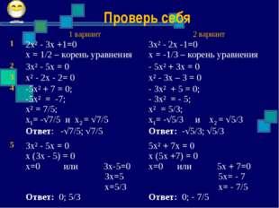 Проверь себя 1 вариант2 вариант 12х² - 3х +1=0 х = 1/2 – корень уравнения
