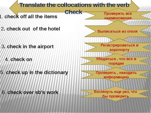 Translate the collocations with the verb Check 1. check off all the items 2....