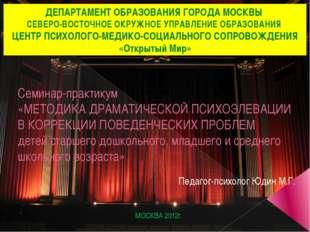 Семинар-практикум «МЕТОДИКА ДРАМАТИЧЕСКОЙ ПСИХОЭЛЕВАЦИИ В КОРРЕКЦИИ ПОВЕДЕНЧЕ