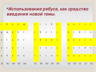 Использование ребуса, как средство введения новой темы. i k a n m t i s b c n