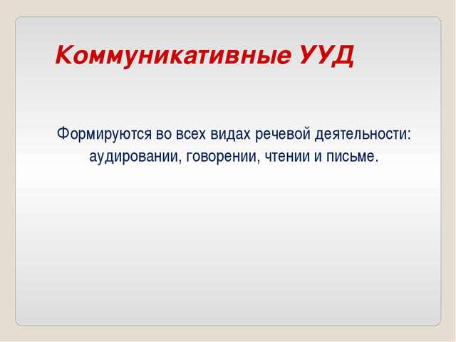 Коммуникативные УУД Формируются во всех видах речевой деятельности: аудирован...