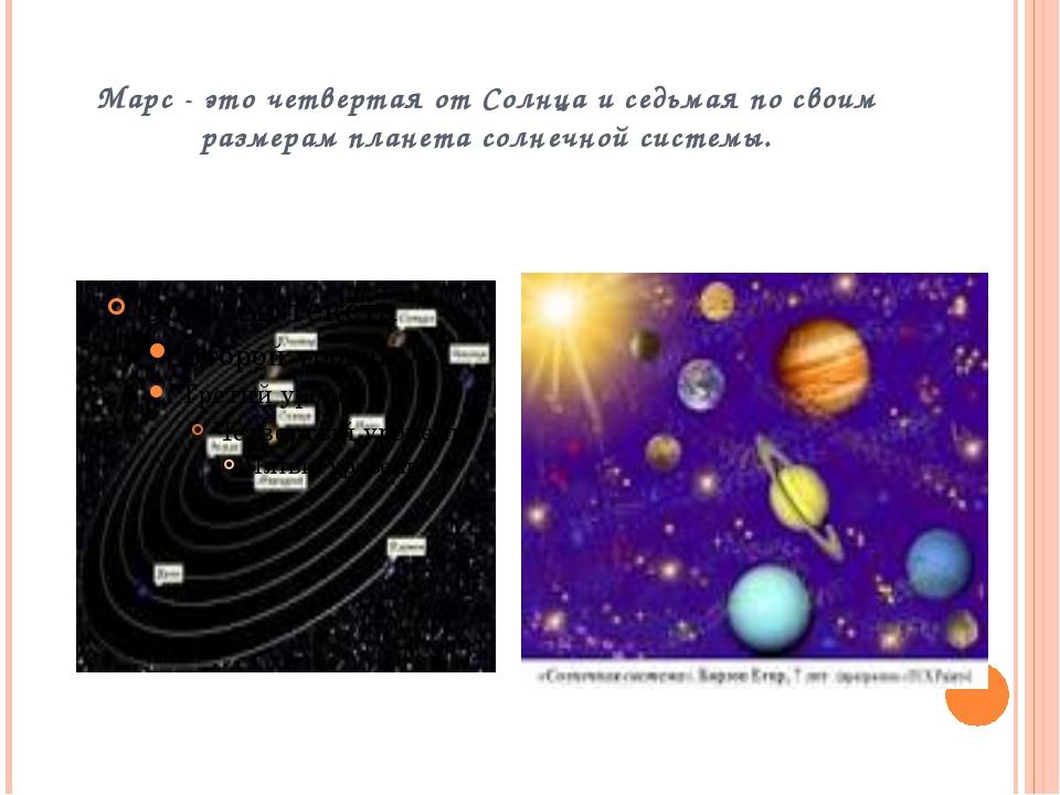 Марс - это четвертая от Солнца иседьмая по своим размерам планета солнечной...