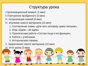Структура урока I.Организационный момент (1 мин) II.Повторение пройденного (3