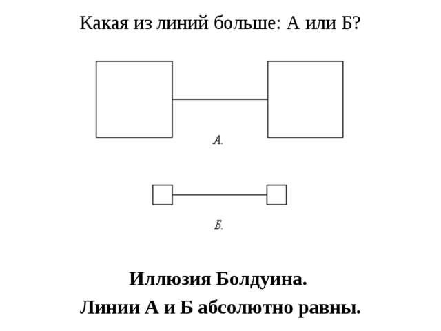 Какая из линий больше: А или Б? Иллюзия Болдуина. Линии А и Б абсолютно равны.