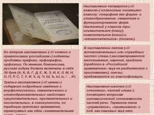 Во втором наставлении («О чтении и правописании российском») подняты проблемы