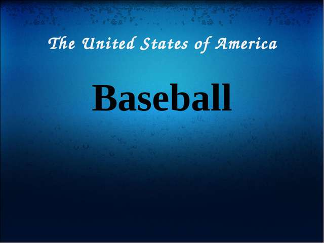 The United States of America Baseball