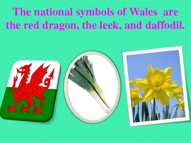 The national symbols of Wales are the red dragon, the leek, and daffodil.