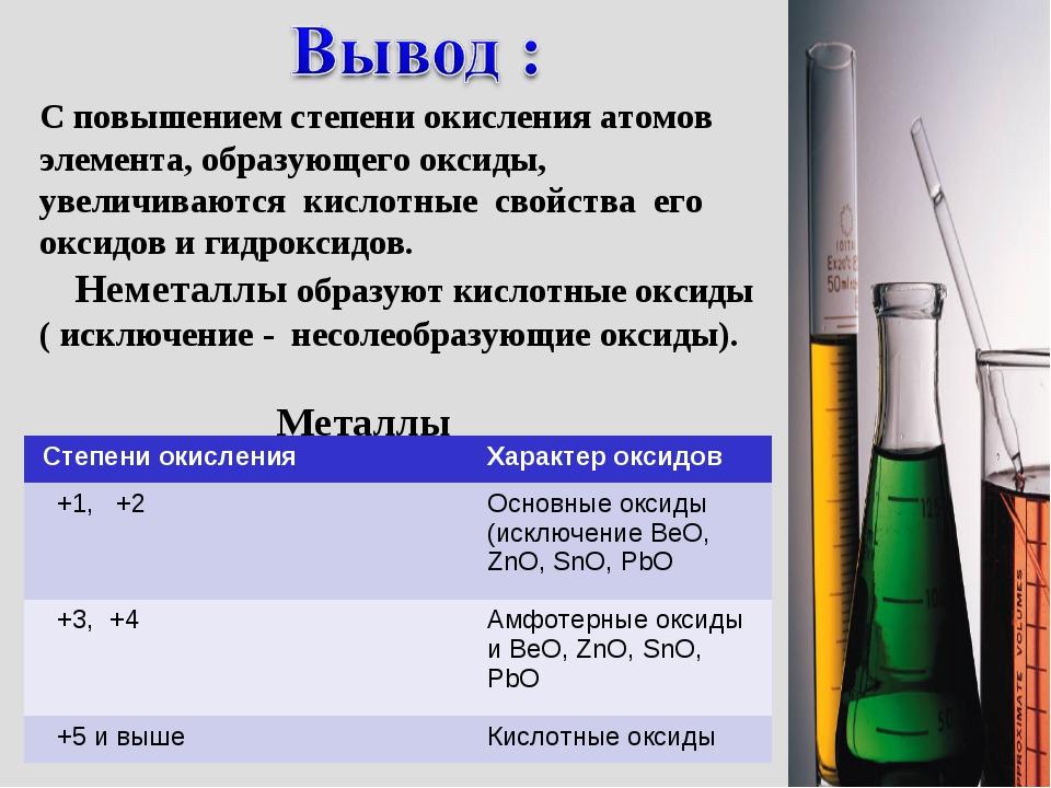 С повышением степени окисления атомов элемента, образующего оксиды, увеличива...