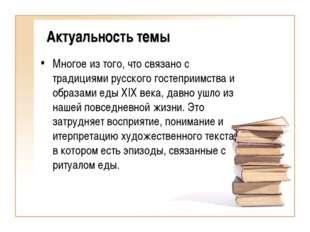 Актуальность темы Многое из того, что связано с традициями русского гостеприи