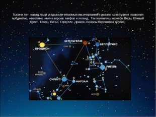 Тысячи лет назад люди угадывали знакомые им очертания и давали созвездиям наз