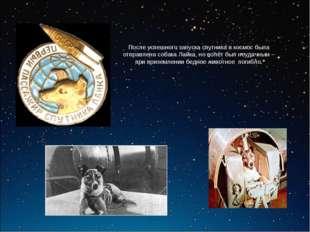 После успешного запуска спутника в космос была отправлена собака Лайка, но по