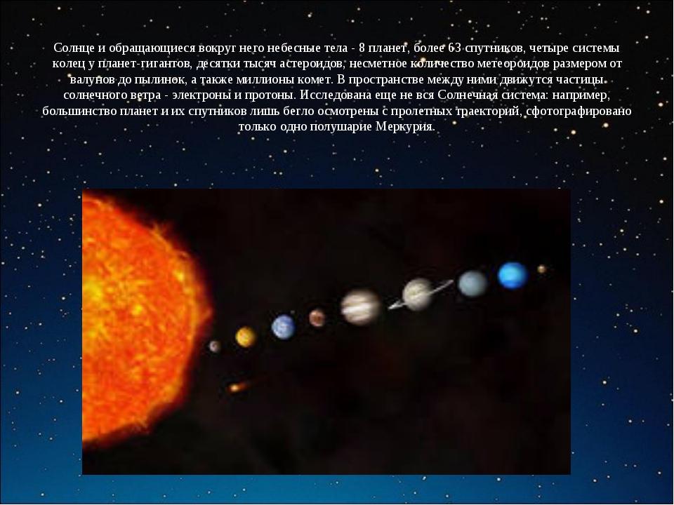 Солнце и обращающиеся вокруг него небесные тела - 8 планет, более 63 спутнико...