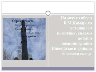 На месте гибели В.М.Комарова установлен памятник, силами детей и администраци