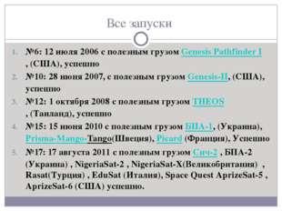 Все запуски №6: 12 июля 2006 с полезным грузом Genesis Pathfinder I,(США), у