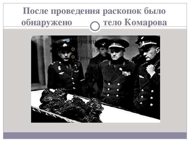После проведения раскопок было обнаружено тело Комарова