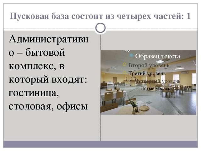 Пусковая база состоит из четырех частей: 1 Административно – бытовой комплекс...