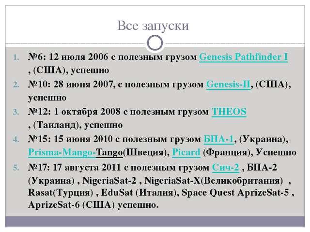 Все запуски №6: 12 июля 2006 с полезным грузом Genesis Pathfinder I,(США), у...
