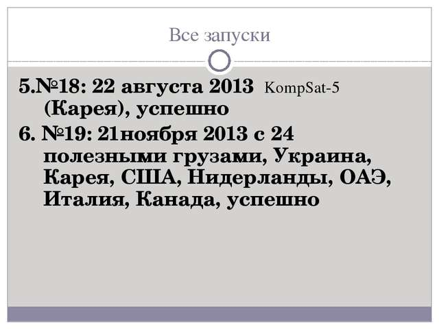 Все запуски 5.№18: 22 августа 2013 KompSat-5 (Карея), успешно 6. №19: 21нояб...