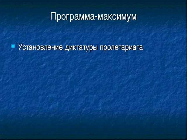 Программа-максимум Установление диктатуры пролетариата