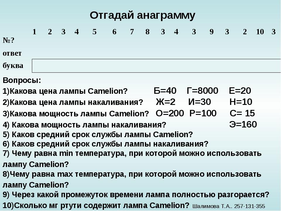 Отгадай анаграмму Вопросы: 1)Какова цена лампы Сamelion? Б=40 Г=8000 Е=20 2)...