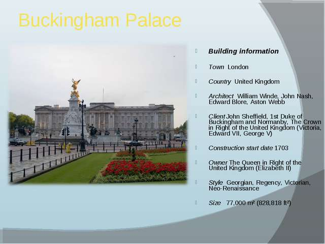 Buckingham Palace Building information Town London Country United Kingdom Arc...