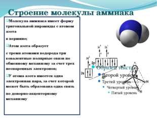 Строение молекулы аммиака Молекула аммиака имеет форму тригональной пирамиды