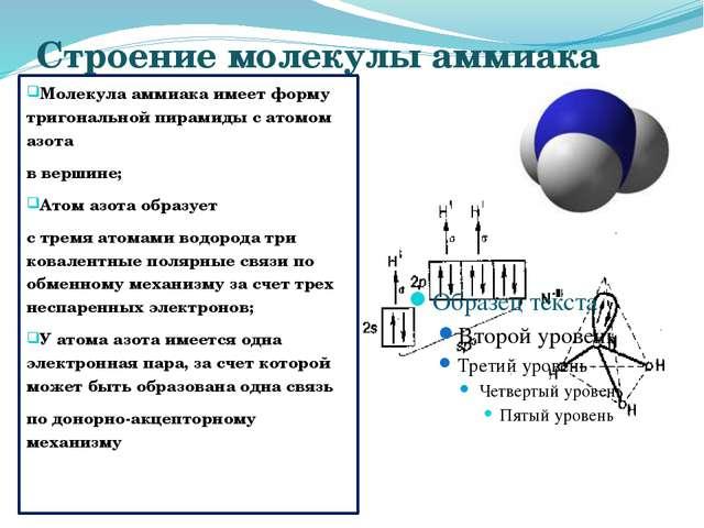Строение молекулы аммиака Молекула аммиака имеет форму тригональной пирамиды...