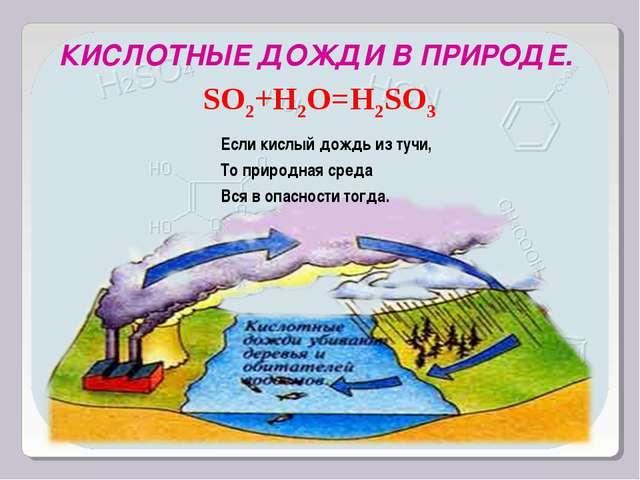 SO2+H2O=H2SO3 КИСЛОТНЫЕ ДОЖДИ В ПРИРОДЕ. Если кислый дождь из тучи, То природ...