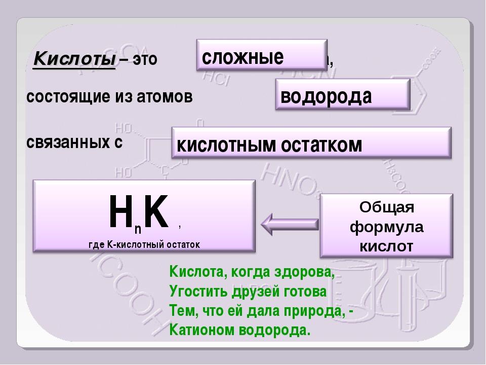 Кислоты – это вещества, состоящие из атомов связанных с Кислота, когда здоро...