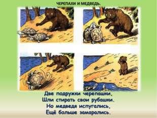 Две подружки черепашки, Шли стирать свои рубашки. Но медведя испугались, Ещё