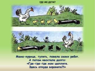 Мама-курица, гулять, повела своих ребят. А потом квохтала долго: «Где-где-где