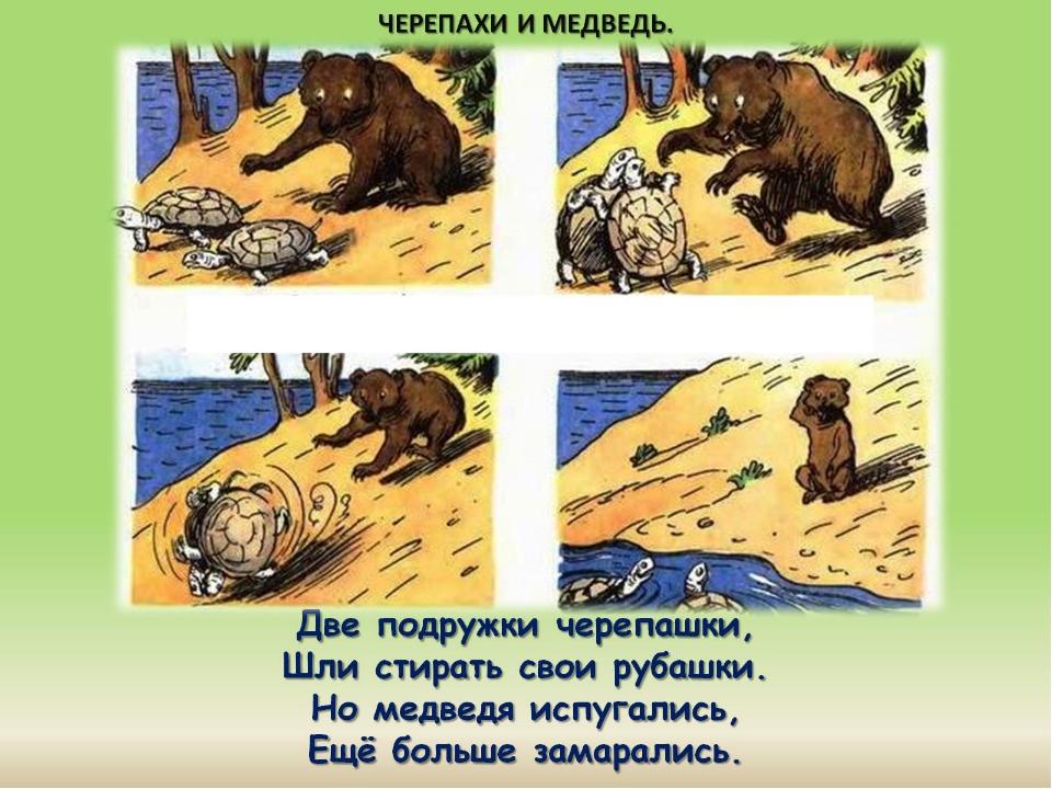 Две подружки черепашки, Шли стирать свои рубашки. Но медведя испугались, Ещё...