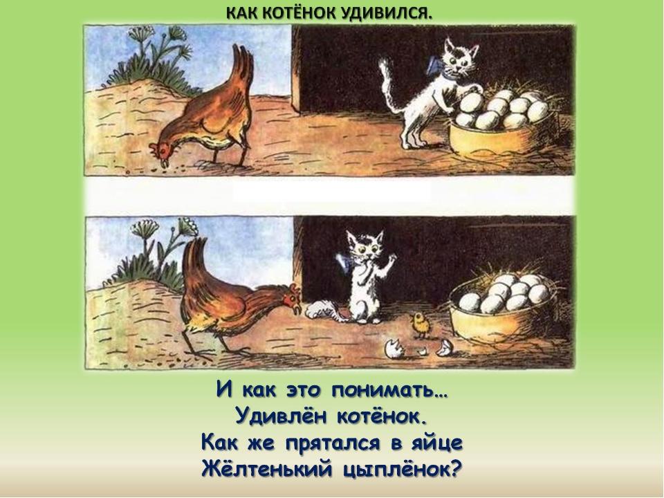 И как это понимать… Удивлён котёнок. Как же прятался в яйце Жёлтенький цыплён...