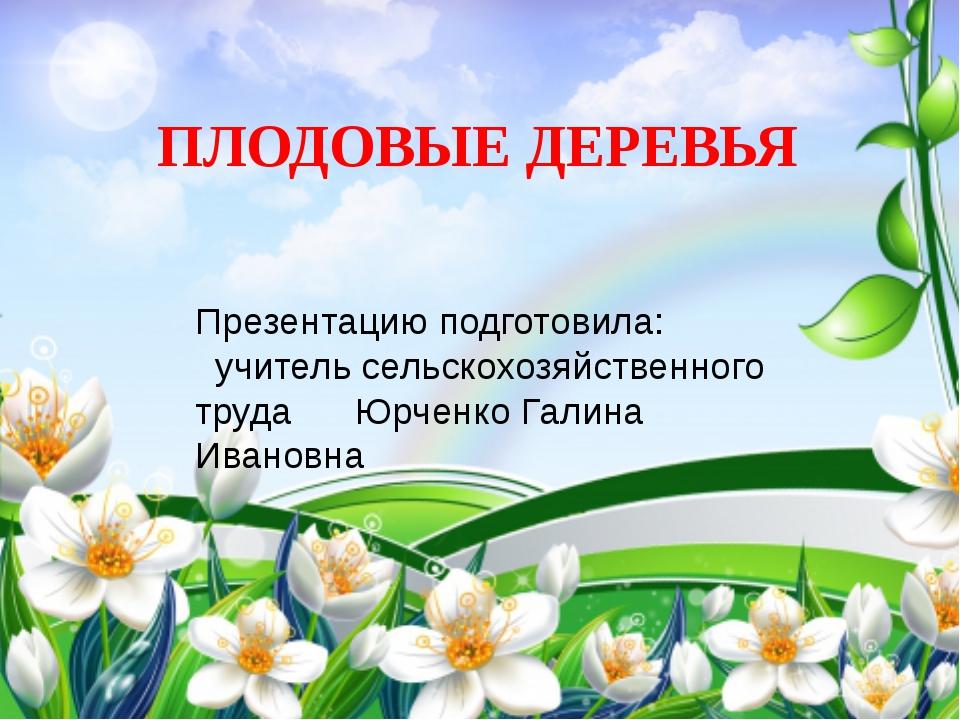 ПЛОДОВЫЕ ДЕРЕВЬЯ Презентацию подготовила: учитель сельскохозяйственного труда...