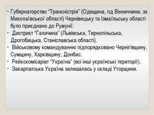 """Губернаторство """"Трансністрія"""" (Одещина, пд Вінниччини, зх Миколаївської облас"""