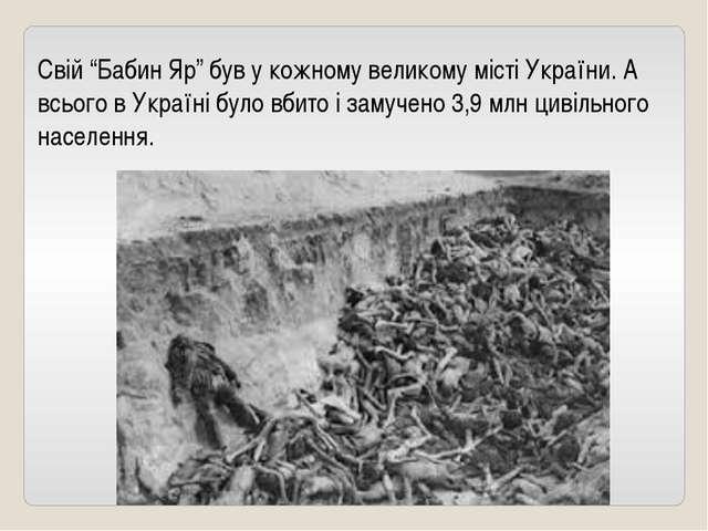 """Свій """"Бабин Яр"""" був у кожному великому місті України. А всього в Україні було..."""