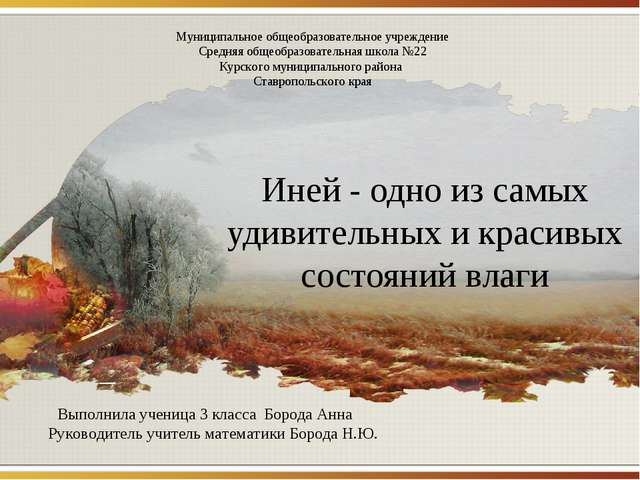 Иней - одно из самых удивительных и красивых состояний влаги Муниципальное об...