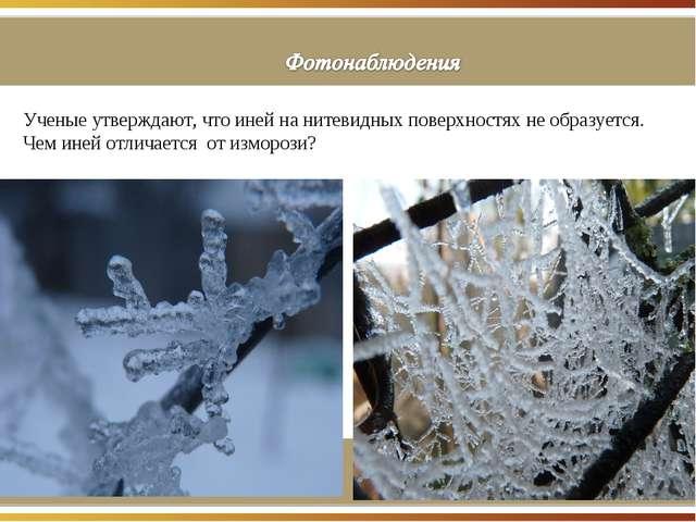 Ученые утверждают, что иней на нитевидных поверхностях не образуется. Чем ин...