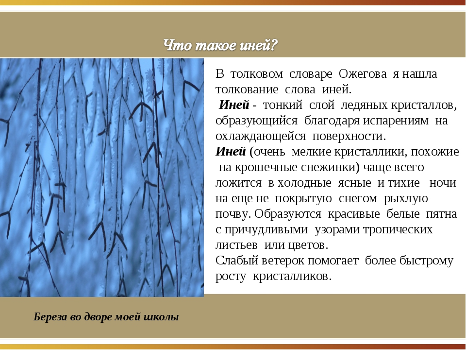 . В толковом словаре Ожегова я нашла толкование слова иней. Иней - тонкий сл...