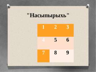 """""""Насыпырыхь"""" 1  2 3 4  5 6 7  8 9"""