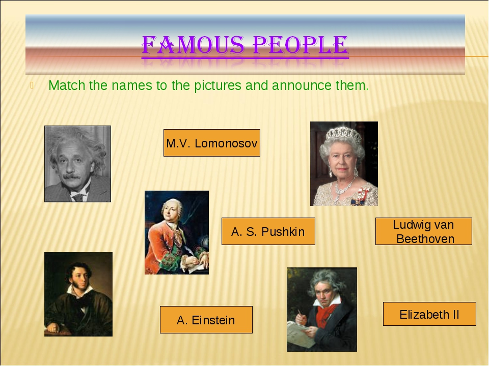 Match the names to the pictures and announce them. Ludwig van Beethoven Eliza...
