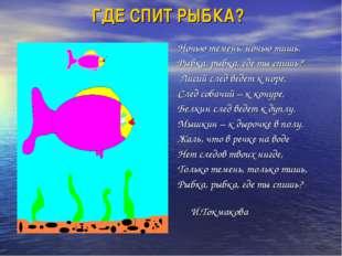 ГДЕ СПИТ РЫБКА? Ночью темень, ночью тишь. Рыбка, рыбка, где ты спишь? Лисий с