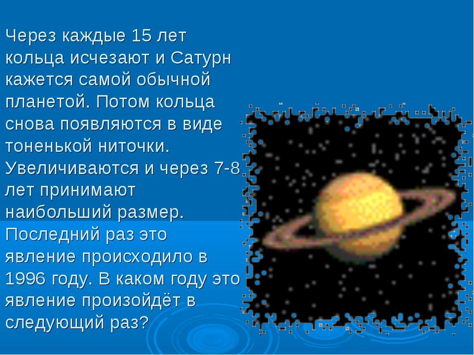 Через каждые 15 лет кольца исчезают и Сатурн кажется самой обычной планетой....