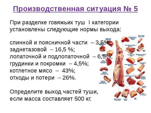 Производственная ситуация № 5 При разделке говяжьих туш I категории установле...